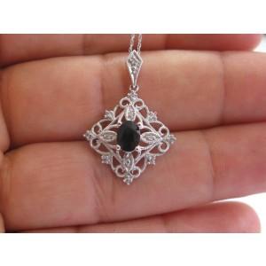 Oval Ceylon Sapphire Milgrain Diamond White Gold Earrings & Necklace 14Kt 1.38Ct
