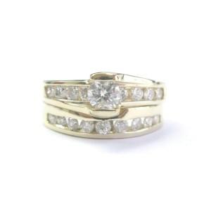 Fine Round Cut Diamond Channel Set Yellow Gold Wedding Set 14KT 1.40Ct