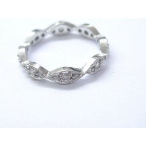 18Kt Round Cut Diamond Milgrain Diamond Eternity Band Ring .45CT Size 6