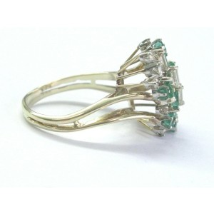 Colombian Green Emerald & Diamond Cluster Yellow Gold Ring 14KT 1.17Ct SIZEABLE