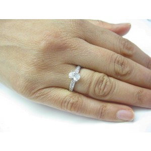 Oval & Round Diamond Engagement Ring Solid White Gold 14Kt .65Ct SIZEABLE
