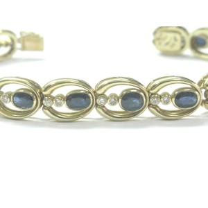 Fine Gem Sapphire Diamond Yellow Gold Tennis Bracelet 8.10Ct