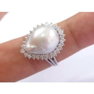 BIG Pearl & Diamond White Gold Pear Shape Jewelry Ring 18.1mm x 13.4mm 1.00Ct