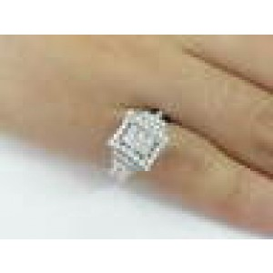 18KT Invisible Diamond Engagement White Gold Jewelry Ring 1.00CT