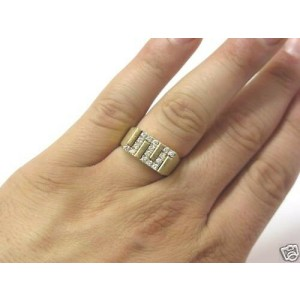 Fine Man's Zig Zag NATURAL Diamond Yellow Gold Jewelry Ring 14KT