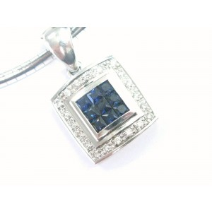 Ceylon Sapphire & Diamond Necklace 14KT White Gold 1.20Ct