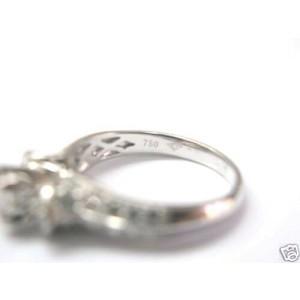 Round Diamond Engagement Ring 18Kt Solid White Gold 1.35Ct Milgrain Design
