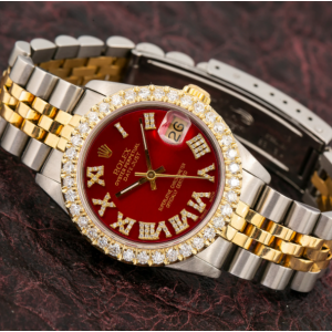 ROLEX LADY-DATEJUST 68273 31MM RED DIAMOND DIAL WITH TWO TONE JUBILEE BRACELET