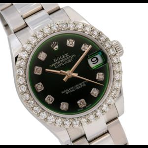 ROLEX MIDSIZE DATEJUST 178240 31MM GREEN DIAMOND DIAL DIAMOND BEZEL OYSTER BAND