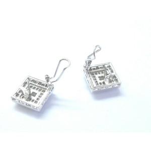 Square Princess Cut Diamond Stud Huggie Earrings 18Kt White Gold 3.74Ct 22mm