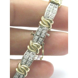 Two-Tone Diamond X Tennis Bracelet Solid 14Kt Gold G-H/SI1 4.10Ct 7""
