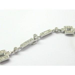 "Diamond Milgrain Square Necklace 18Kt White Gold 231-Stones 16"" 3.50Ct"