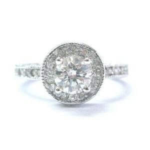 Round Diamond White Gold Milgrain Engagement Ring Solid 14Kt I/SI1 .83Ct