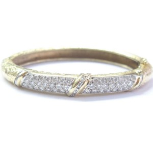 Round & Baguette Multi Shape Milgrain Bangle 14KT Yellow Gold 2.26Ct