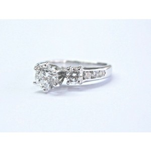 Fine Round Diamond Solitaire W Channel Set Accents Engagement Ring 1.21Ct E-SI1