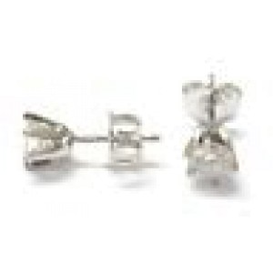 Fine Round Cut Diamond Stud Earrings White Gold Push Back .66CT