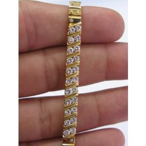 "20Kt Round Cut NATURAL Diamond Yellow Gold ID Bracelet 2.20Ct 6.75"""