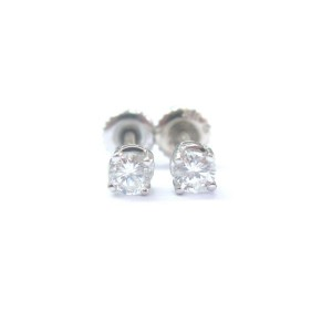 Fine Round Cut Diamond Stud White Gold Earrings .50Ct G-VS2 Screw Back