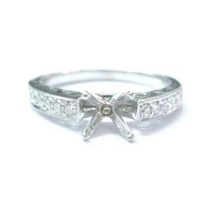 Simon G 18Kt Diamond White Gold Semi Mount Engagement Ring .24Ct