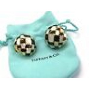 Tiffany & Co Mother of Pearl & Onyx Earrings 18Kt Yellow Gold 1""