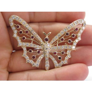 18Kt Gem Ruby & Diamond Yellow Gold Butterly Pin / Brooch 4.11Ct