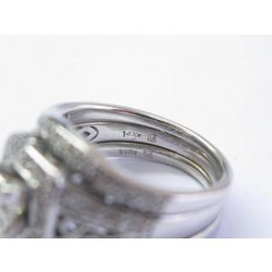 Fine Princess & Round Cut Diamond WIDE Milgrain Engagement WG Ring 1.35Ct