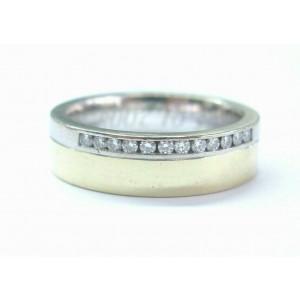 Fine Two-Tone Round Cut Diamond Mens Jewelry Ring .18Ct 14KT