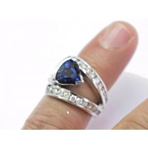 Fine Gem Tanzanite Diamond White Gold Jewelry Ring 4.33Ct 14KT