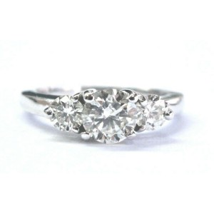 Fine Round Cut Diamond Three Stone White Gold Engagement Ring 1.10Ct 14KT