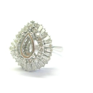 Round & Baguette Diamond Semi Mount Ballerina Ring 14Kt 1.85Ct ( .75Ct-1.00Ct )