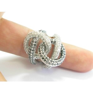 Black & White Diamond Overlapping Ring 18Kt White Gold 5.76Ct BIG RING