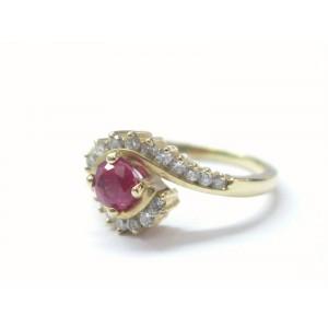 Fine Gem Ruby Diamond Swirl Yellow Gold Jewelry Ring .95CT