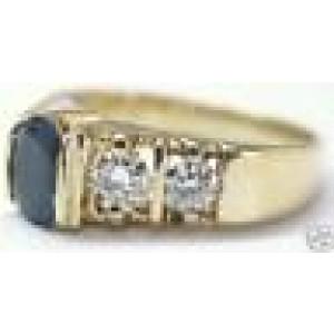 Fine Oval Gem Sapphire Old European Cut Diamond Yellow Gold Ring 2.61Ct