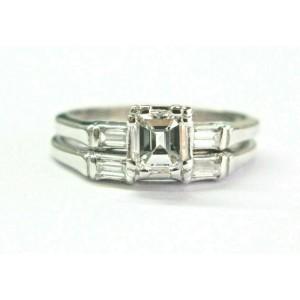 Emerald & Baguette Diamond Engagement Set Rings .86Ct G-VS1