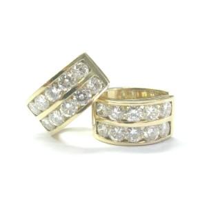 Fine 14Kt Round Cut NATURAL Diamond Huggie Earrings 3.24Ct E-VVS2