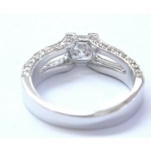 Fine Princess & Round Cut Diamond Split Shank Engagement Ring 1.47Ct G-VS1