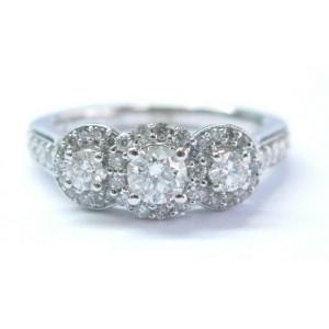 Fine Round Cut Diamond 3-Stone Engagement White Gold Ring 14KT .88Ct