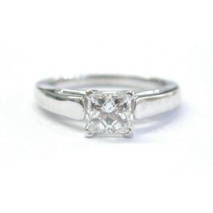 Fine THE LEO Princess Cut Diamond Solitaire Engagement Ring .69Ct G-SI1