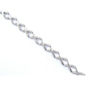 Fine Round Cut Diamond White Gold Tennis Bracelet 14Kt 1.25Ct 7""