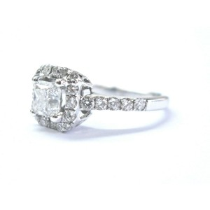 Halo Princess Cut Diamond Engagement Ring 1.10Ct 14KT White Gold