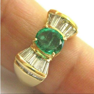 Green Emerald & Baguette Diamond Ring Solid 18Kt Yellow Gold 1.65Ct SIZEABLE