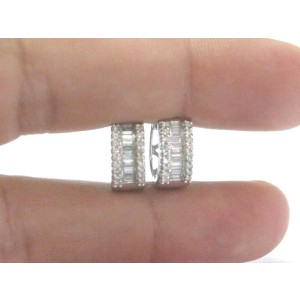 Fine Round & Baguette Diamond Multi Shape White Gold Hoop Earrings .50Ct