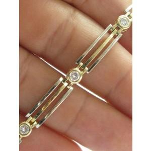 "Bezel Set Natural Round Diamond Yellow Gold Tennis Bracelet 1.00Ct G-VS2 7"" 18KT"