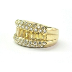 Yellow Sapphire & Diamond Ring 18Kt Yellow Gold WIDE 11mm 3.50Ct