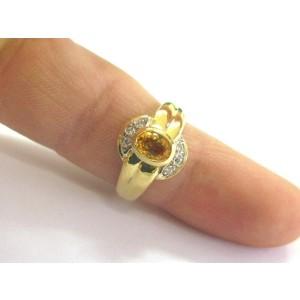 Oval Yellow Sapphire & Diamond Bezel Ring 14Kt Yellow Gold .78Ct