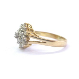 Fine Round Cut Diamond Circular Cluster Earrings & Ring Set 2.00Ct 14KT