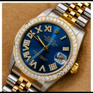 ROLEX DATEJUST MIDSIZE 31MM 68273 BLUE DIAMOND DIAL AND BEZEL TWO TONE JUBILEE