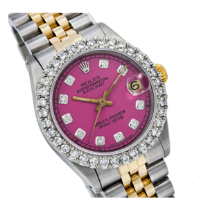 ROLEX DATEJUST MIDSIZE 31MM 68274 PINK DIAMOND DIAL AND BEZEL TWO TONE JUBILEE