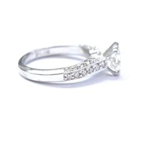 Palladium Scott Kay Cushion & Round Cut NATURAL Diamond Engagement Ring GIA