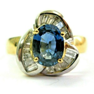 Oval Sapphire & Baguette Diamond Ring 18Kt Yellow Gold Ballerina Design 3.08Ct